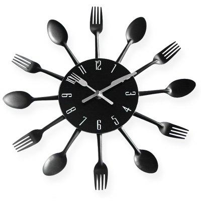 Creative Spoon Fork Style Stainless Steel Clock