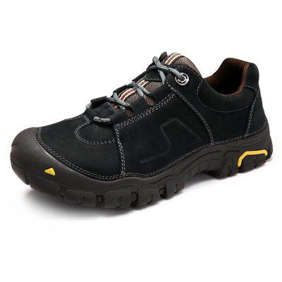 Buy BLACK Genuine Leather Outdoor Hiking / Climbing Shoes for Men for $63.36 in GearBest store