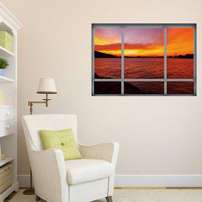 3D Fake Window Sunset Landscape Wall Sticker