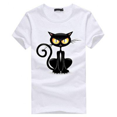 Buy WHITE M 3D Black Cat Printed Casual T-shirt for Women for $6.41 in GearBest store