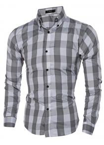 Men Standard-fit Long-sleeve Checked Shirt