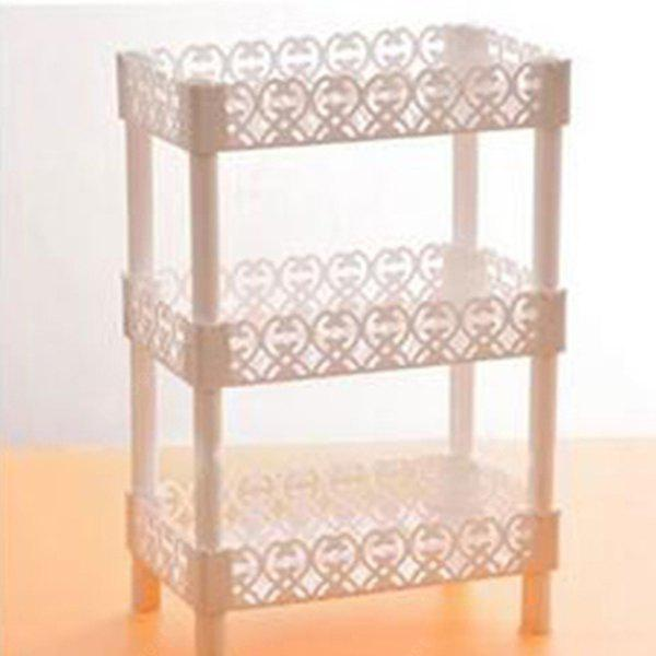 Buy Fashion Lace Triplex Kitchen Bathroom Desktop Storage Holder QUADRILATERAL WHITE
