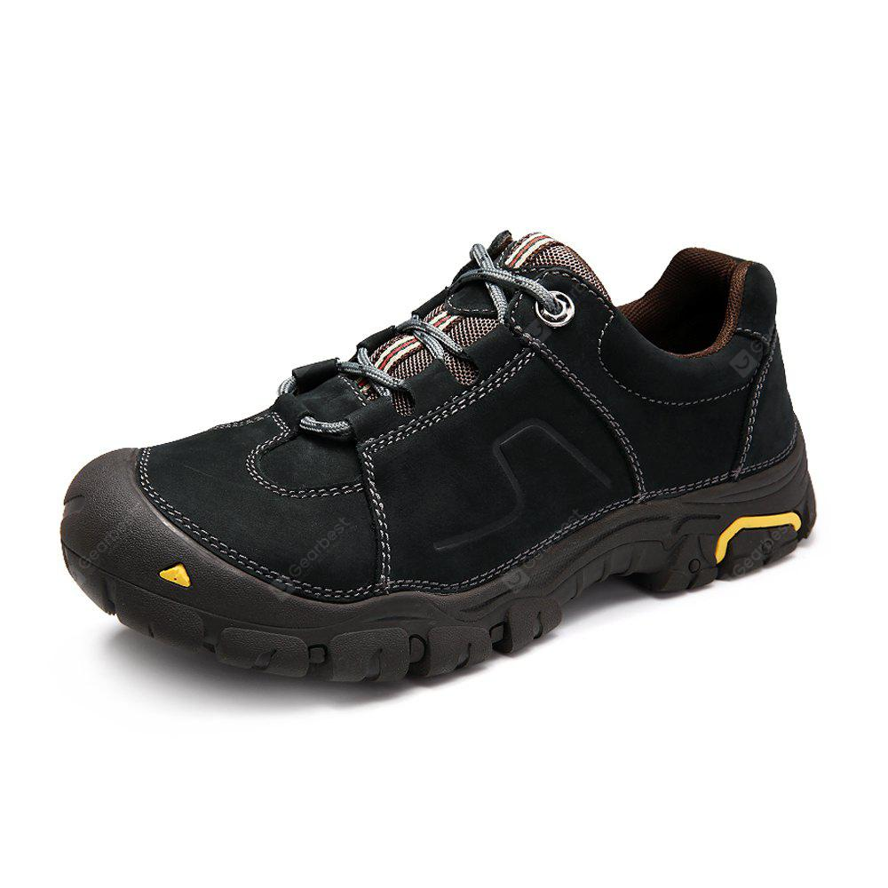 BLACK Genuine Leather Outdoor Hiking / Climbing Shoes for Men