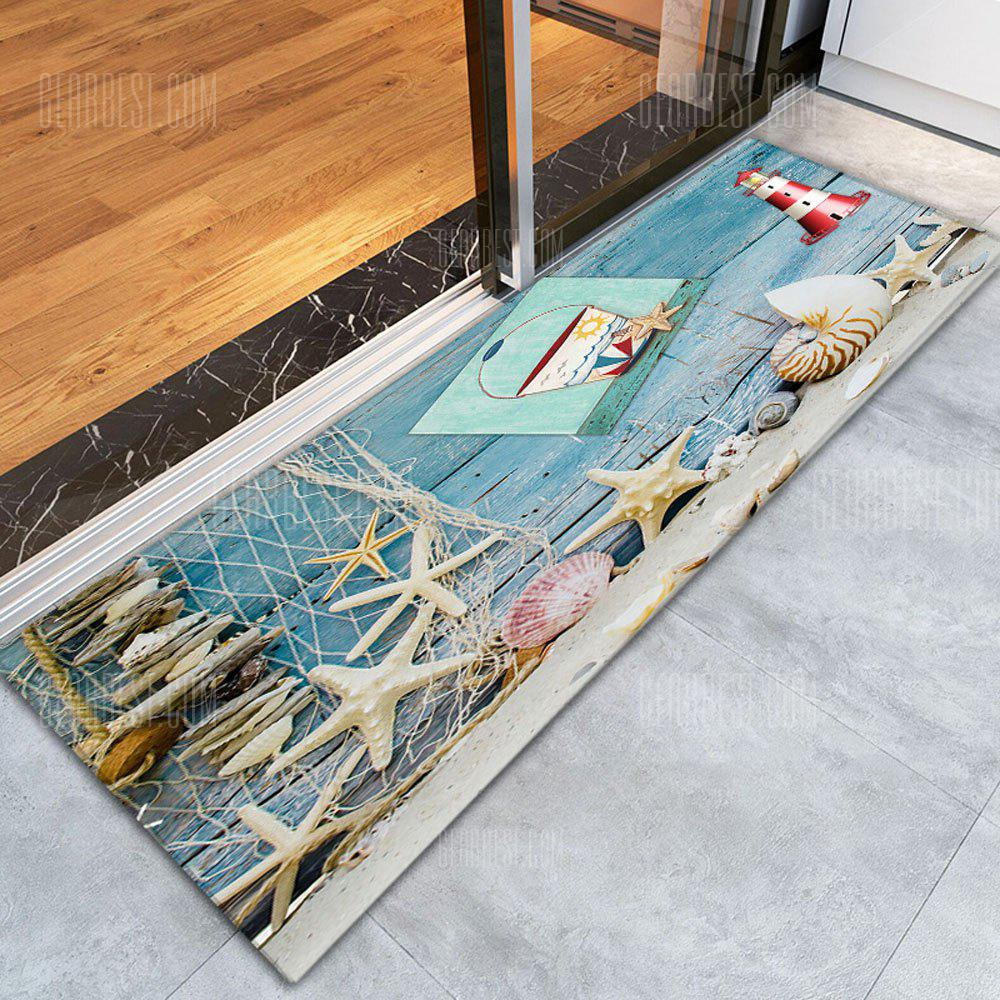 COLORFUL 3D Printing Starfish / Shell Pattern Non-Slip Floor Carpet