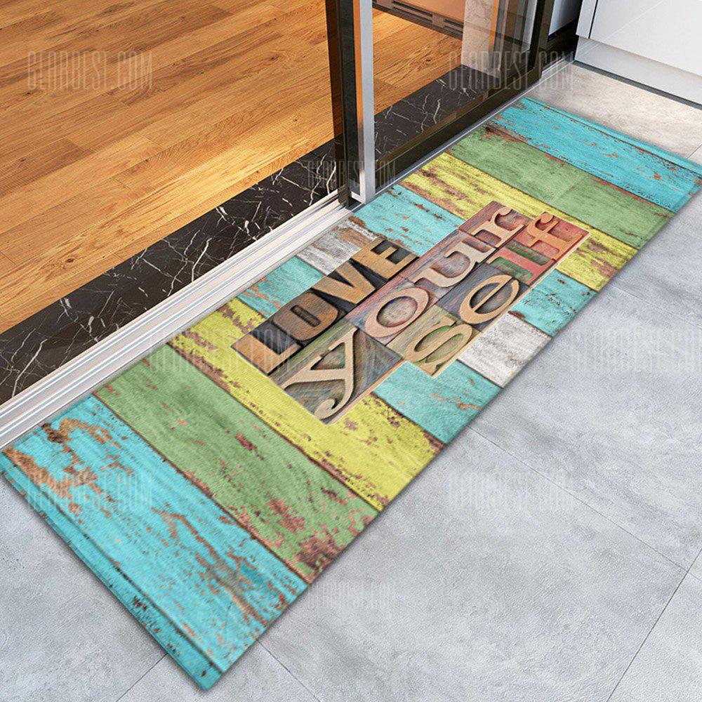 COLORFUL 3D Printing Retro Wood Grain Pattern Non-Slip Floor Carpet