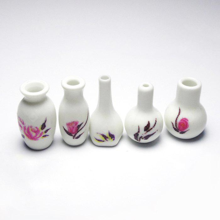 WHITE 5pcs Miniature Plastic Vase
