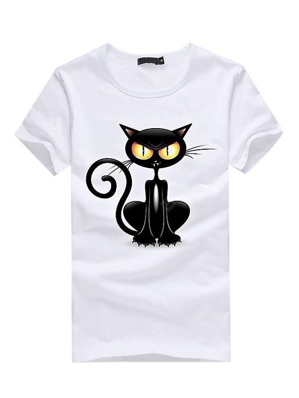 WHITE M 3D Black Cat Printed Casual T-shirt for Women