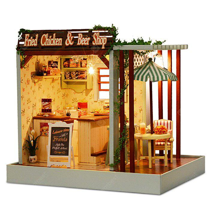 COLORMIX DIY Simulation Dollhouse Snack Bar Set with LED Light