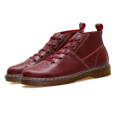 Men Genuine Leather High Top Martin Boots
