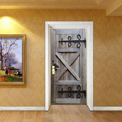 Ancient Wooden 3D Door Sticker Wallpaper