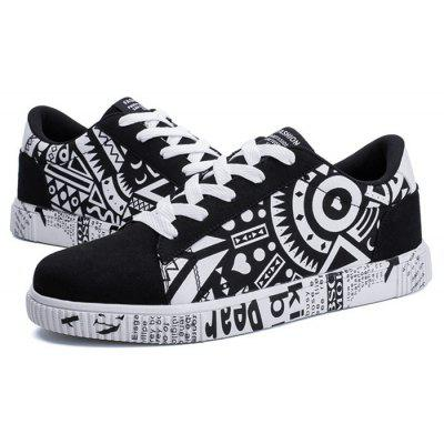 Men Trendy Printed Canvas Casual Skateboarding Shoes