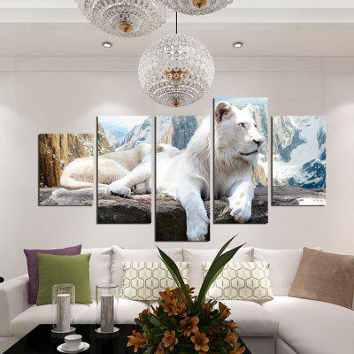 5PCS White Tiger Printed Oil Painting Canvas Wall Sticker