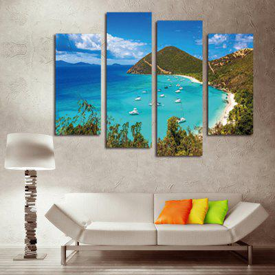 4PCS Seascape Printed Canvas Wall Sticker