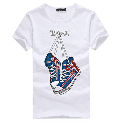 Buy WHITE Shoes Printed Stylish Leisure T-shirt for Women for $9.60 in GearBest store