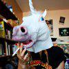 Novelty Unicorn Horse Latex Head Mask - WHITE