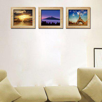 DSU Environmental-friendly 3D Pyramid of Paris Landscape Wall Sticker 3pcs