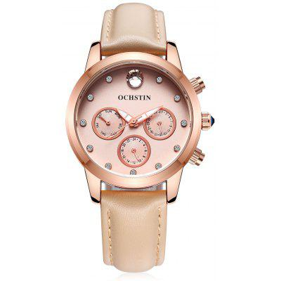 OCHSTIN LQ056 Water-resistant Female Watch with Genuine Leather Band