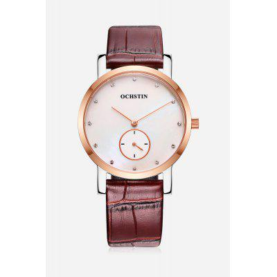 Water-resistant Watch with Genuine Leather Band