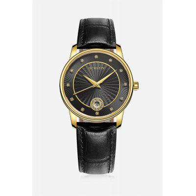 Classical Water-resistant Female Watch with Genuine Leather Band