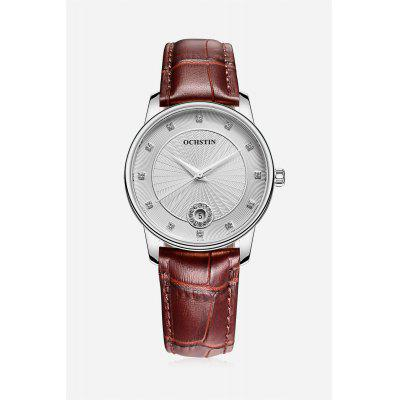 Classical Water-resistant Watch with Genuine Leather Band
