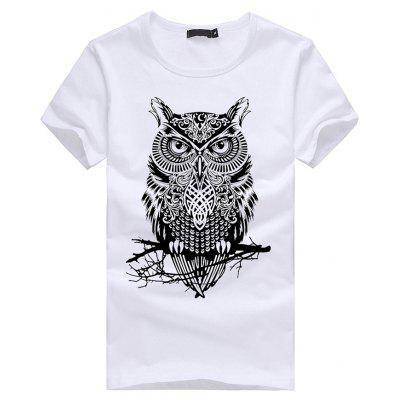 3D Owl Pattern Short Sleeves T-shirt for Men