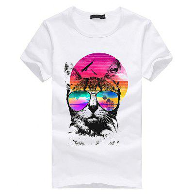 Straight Men 3D Colorful Pattern Short Sleeves T-shirt