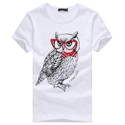 Faddish 3D Owl Pattern Short Sleeves T-shirt for Men