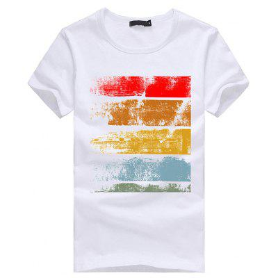 3D Color-stripes Pattern Short Sleeves T-shirt for Men