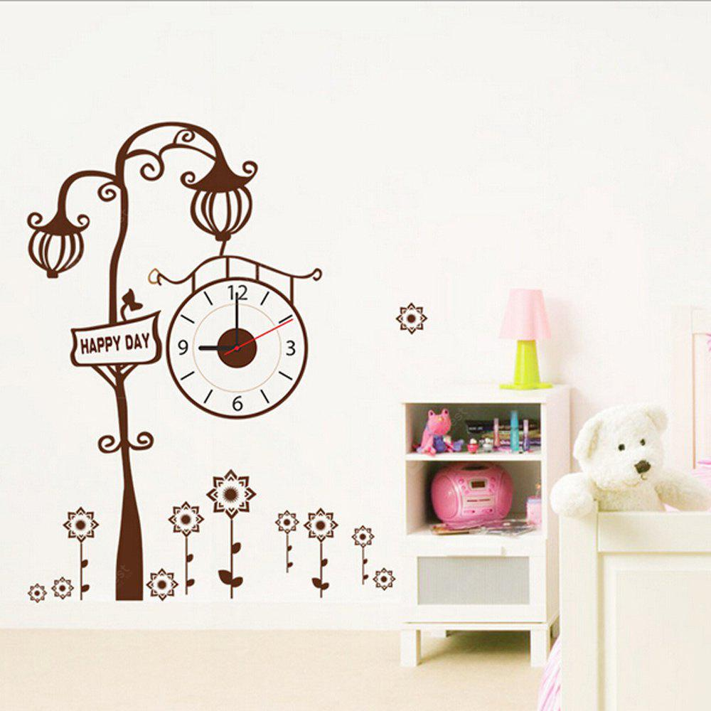 Creative Tree Style Home Decoration Wall Clock Sticker BROWN