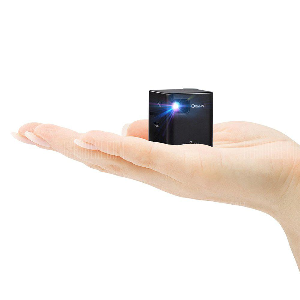 Orimag P6 Portable Smart Mini DLP LED Projector - BRIGHT BLACK UNIVERSAL PLUG