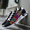 Printed Thick Soles Casual Sneakers for Men - BLACK RED