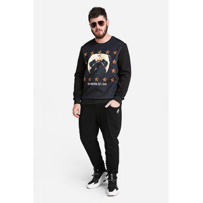 Male Fashionable Casual Loose Pattern Round Neck Jumper