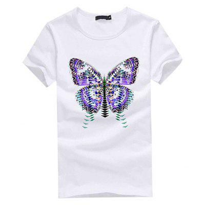 Fashion Butterfly Print Round Neck Short Sleeve T-shirt for Men