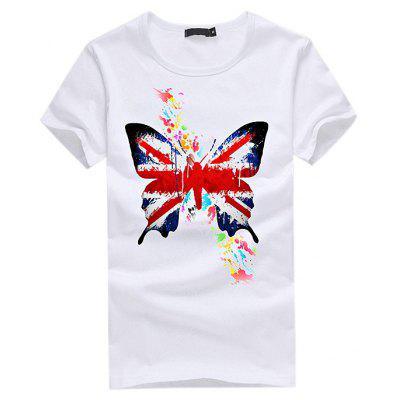 Men Leisure Butterfly Print Round Neck Short Sleeve T-shirt