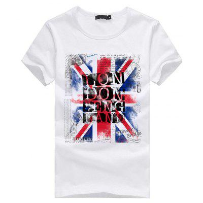Fashion UK Flag Print Round Neck Short Sleeve T-shirt for Men