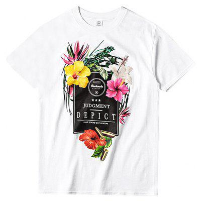 Male Street Style Flowers Printed Round Neck T-shirt