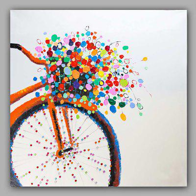 Happy Art Hand Painted Bicycle Flower Oil Painting Decoration