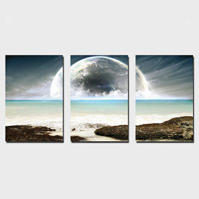 YSDAFEN 3PCS Moon Printing Canvas Wall Decoration