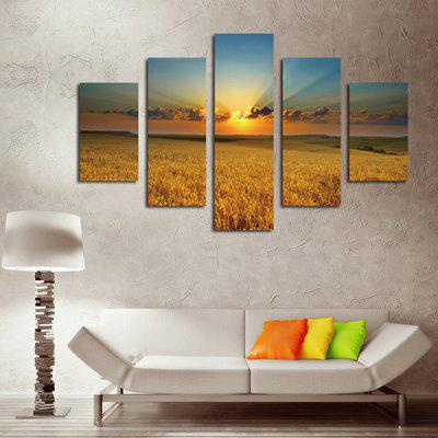 5PCS Prairie Sunset Printing Canvas Wall Decoration