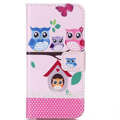 Pink Owl Pattern Flip-open Cover Case for Samsung Galaxy S7