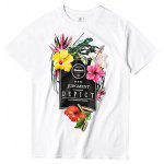 Male Street Style Flowers Printed Round Neck T-shirt - WHITE