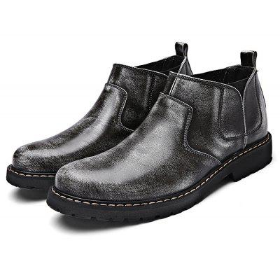 Men Fashion Medium Top Leather Slip-on Ankle Boots
