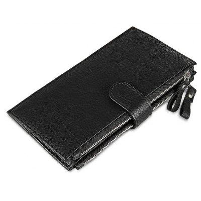 Men Long Bifold Leather Wallet with Zipper Pocket
