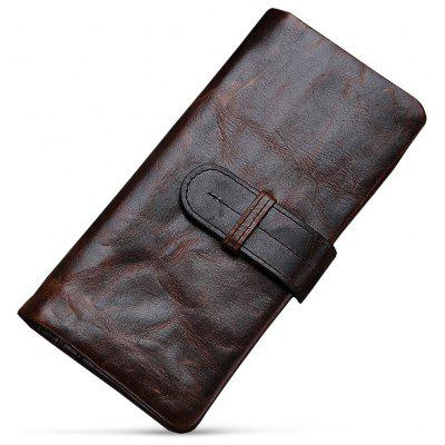 Men Stylish Vintage Look Long Bifold Leather Wallet