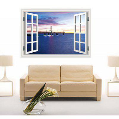 DSU 3020A Harbour Night Scene 3D PVC Removable Wall Sticker