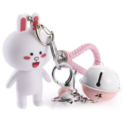 Rotatable Head Cute Rabbit Key Chain with Rings