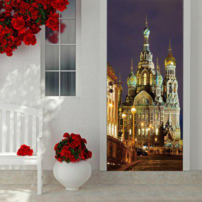 DIY 3D St Petersburg Pattern Waterproof Door Mural Sticker