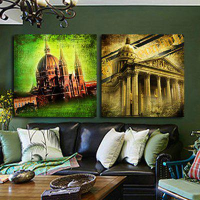 2PCS Dome House Printing Canvas Wall Decoration