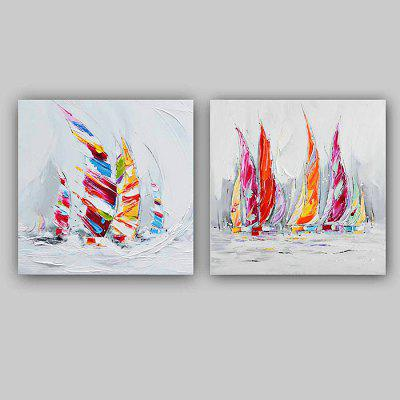 Happy Art Modern Hand Painted Canvas Sailboat Oil Painting