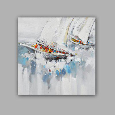 Happy Art Hand Painted Abstract Sailboat Oil Painting Decorative Wall Art